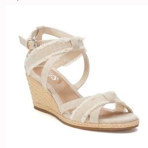 NWT CHAPS Wedge Espadrilles Neutral Sandal size 8